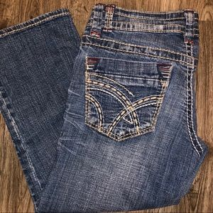 Hydraulic Distressed Denim Capri Pants Size 1/2